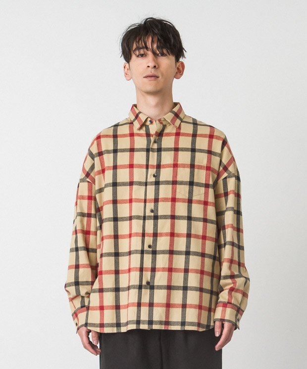 Shaggy Check Dropped Shoulders Shirt - BEIGE