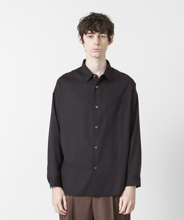 T/R Stretch Twill Dropped Shoulders Shirt - NAVY
