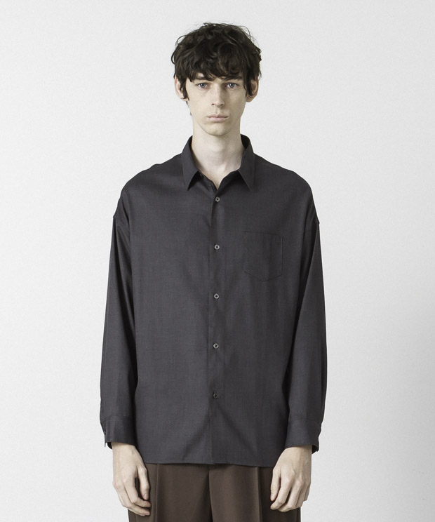 T/R Stretch Twill Dropped Shoulders Shirt-CHARCOAL