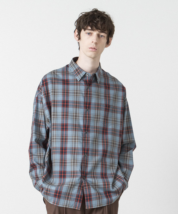 Tartan Check Dropped Shoulders Shirt - BLUE