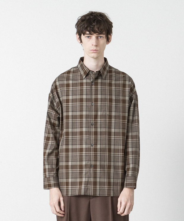 Tartan Check Dropped Shoulders Shirt - BROWN