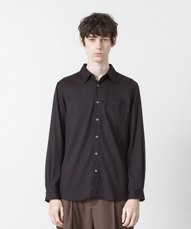 T/R Stretch Twill Regular Collar Shirt - NAVY