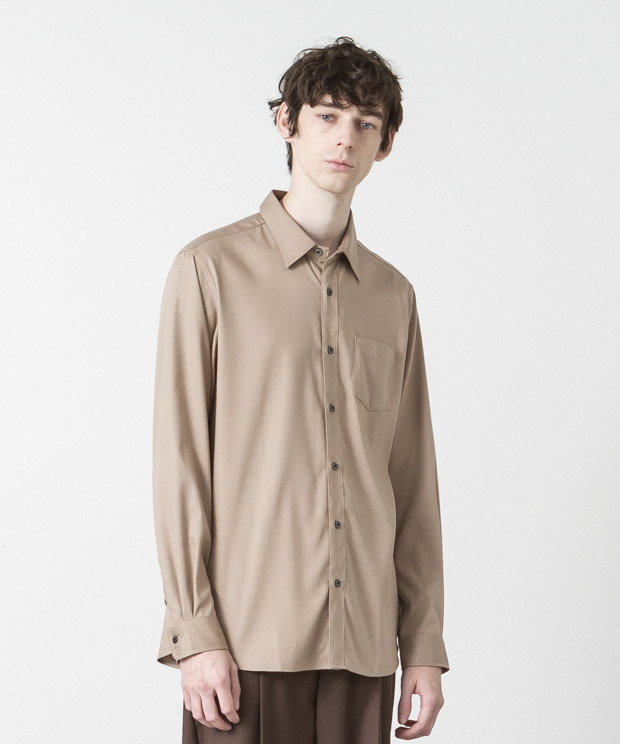 T/R Stretch Twill Regular Collar Shirt - BEIGE