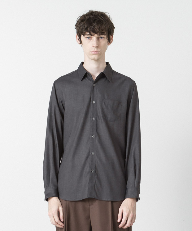 T/R Stretch Twill Regular Collar Shirt - CHARCOAL