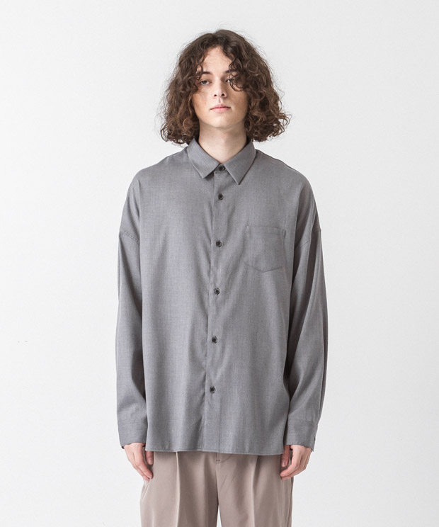 T/R Stretch Twill Dropped Shoulders Shirt - GRAY