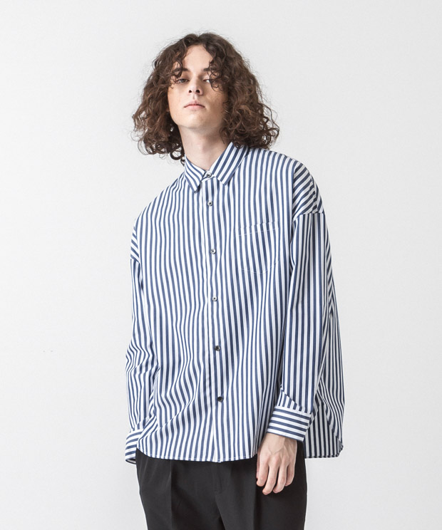 Striped Dropped Shoulders Shirt - WHITE/NAVY