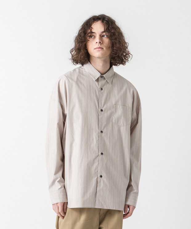 Typewriter Striped Dropped Shoulders Shirt - BEIGE