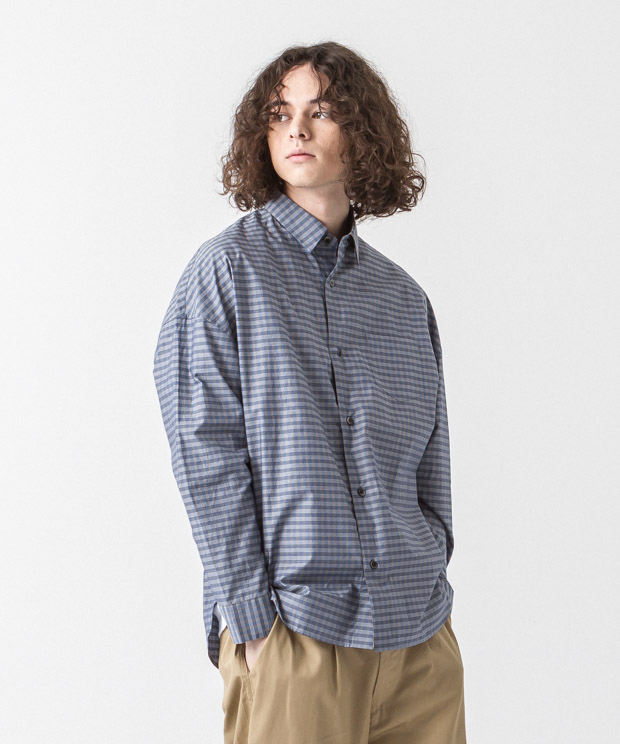 Typewriter Check Dropped Shoulders Shirt - NAVY