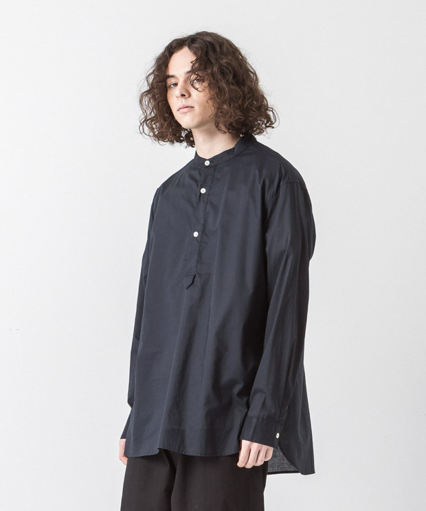 60 Lawn Band Collar Shirt - NAVY