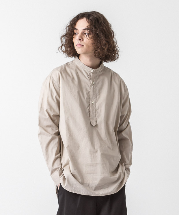 60 Lawn Band Collar Shirt - BEIGE