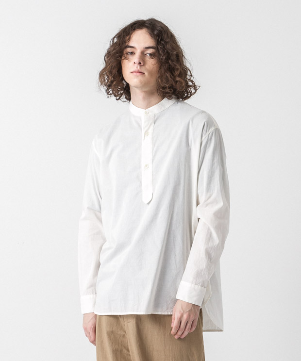 60 Lawn Band Collar Shirt - NATURAL