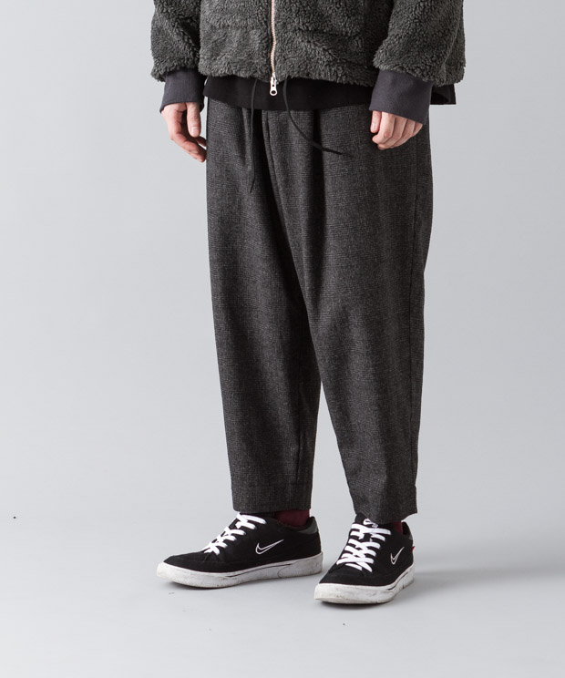 Glencheck Wide Tapered Pants - CHARCOAL