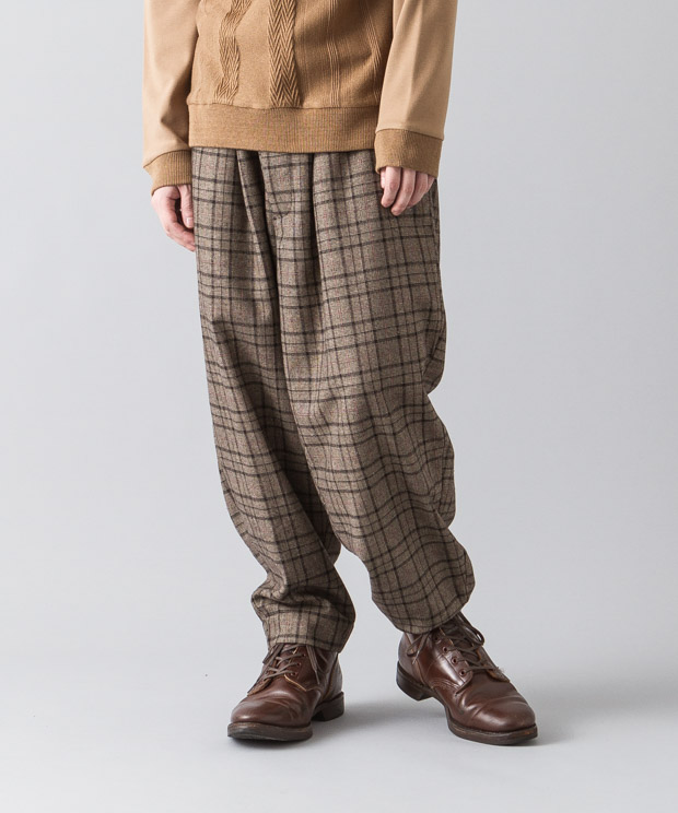 Glencheck Wide Tapered Pants - BROWN