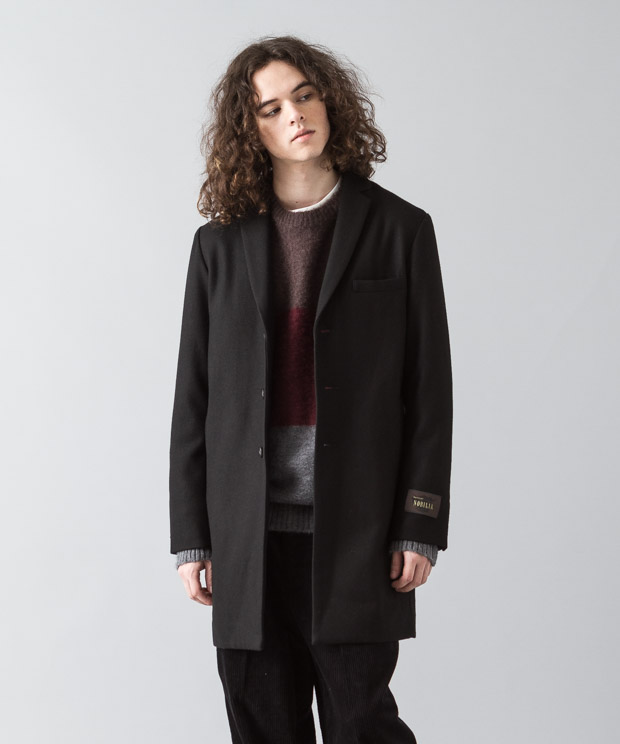 Nobilia Melton Chesterfield Coat  - BLACK