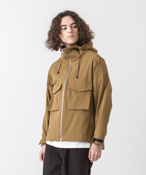 Back Pique Hooded Military Jacket - BEIGE