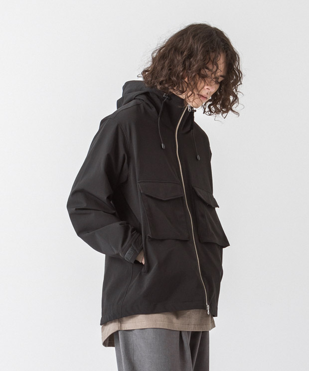 Back Pique Hooded Military Jacket - BLACK