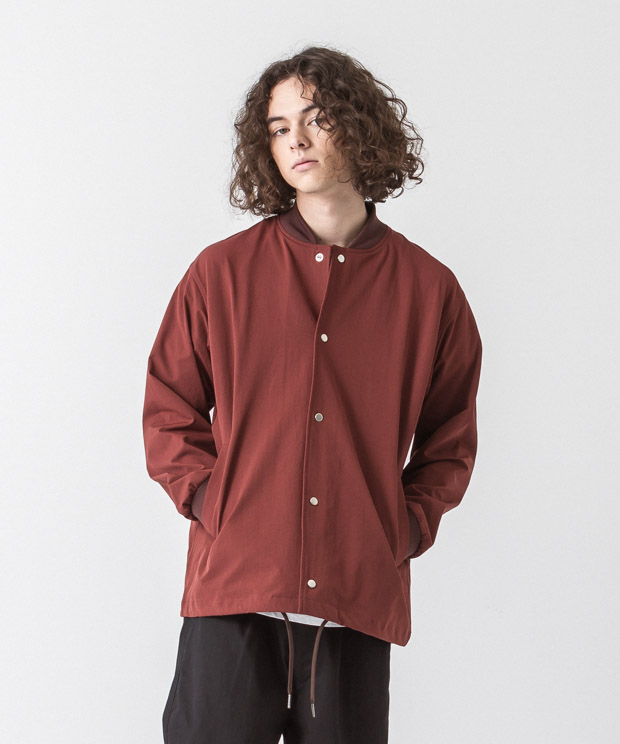 Back Pique Coach Jacket - BROWN