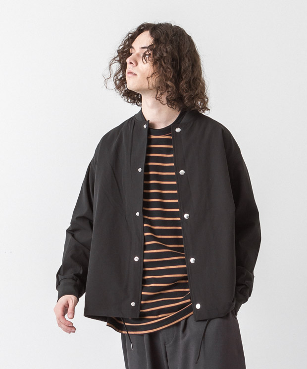 Back Pique Coach Jacket - BLACK