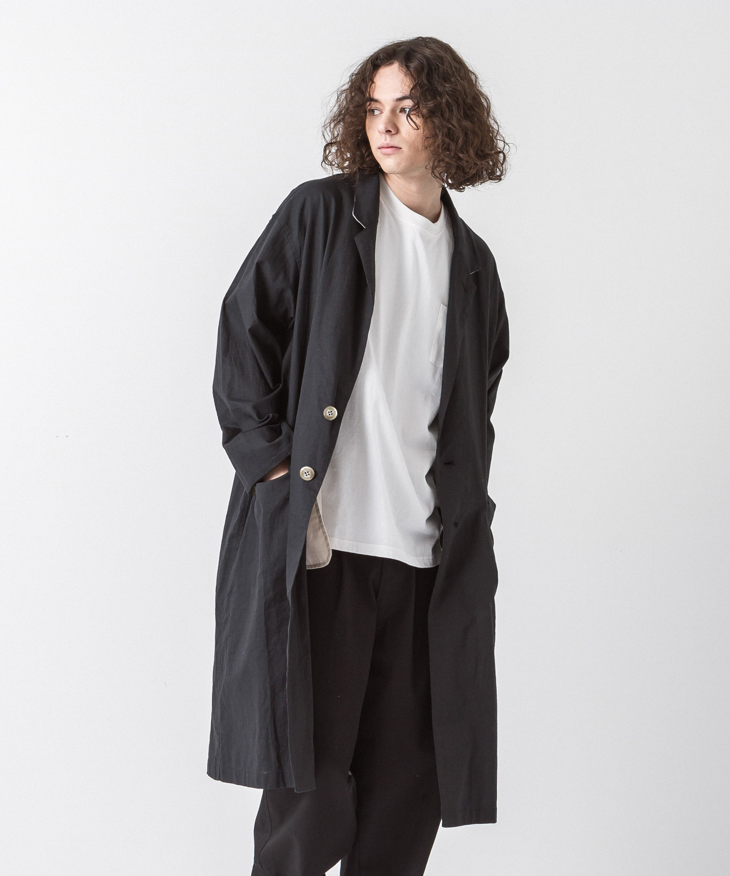 Cotton Linen Coat - BLACK