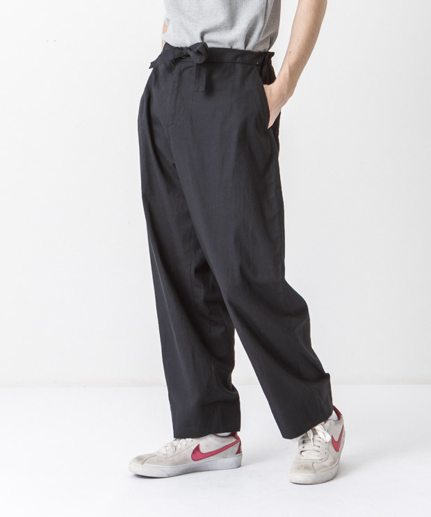 Cotton Linen Easy Pants - BLACK