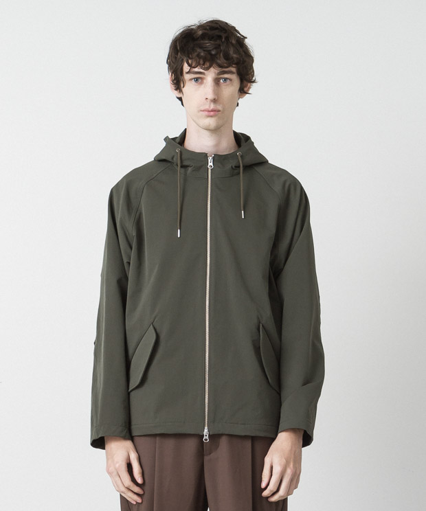 Back Pique Hooded Jacket - KHAKI