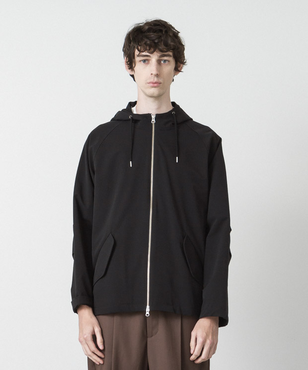 Back Pique Hooded Jacket - BLACK