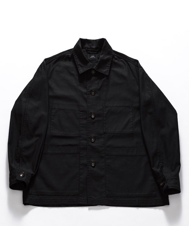 Oiled Cloth Oversized Coverall - BLACK