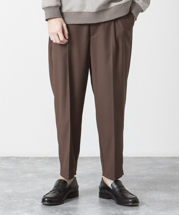 T/R Stretch Wide Tapered Slacks - BROWN
