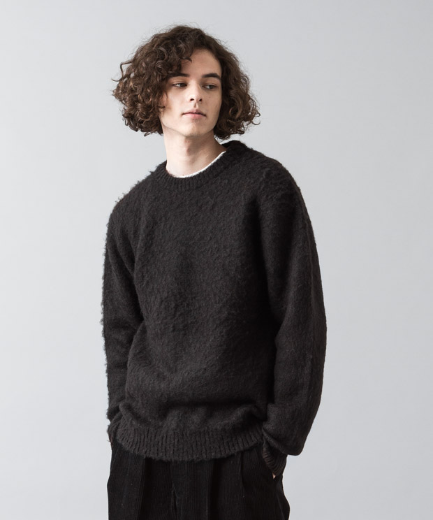 Shaggy Mohair Crewneck Knit - BLACK