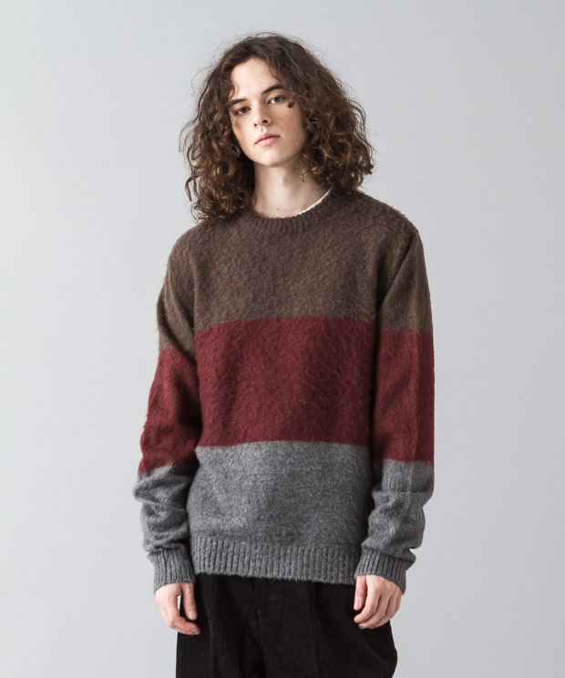 Shaggy Mohair Panel Border Crewneck Knit - PATTERN A