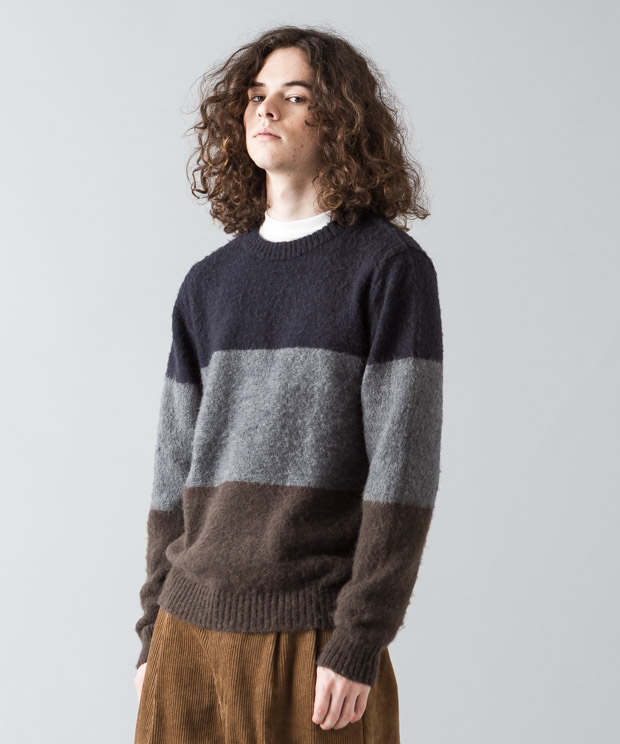 Shaggy Mohair Panel Border Crewneck Knit - PATTERN B