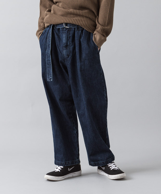 12Oz Denim Belted Wide Pants - INDIGO