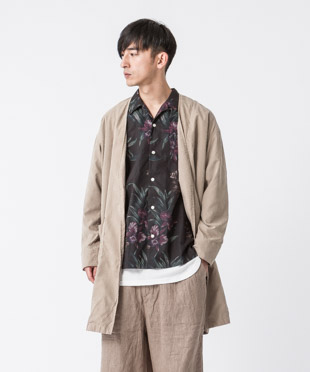Dropped Shoulders Collarless Coat - BEIGE