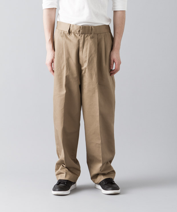 2Tucked Wide Prime Chino Pants - BEIGE