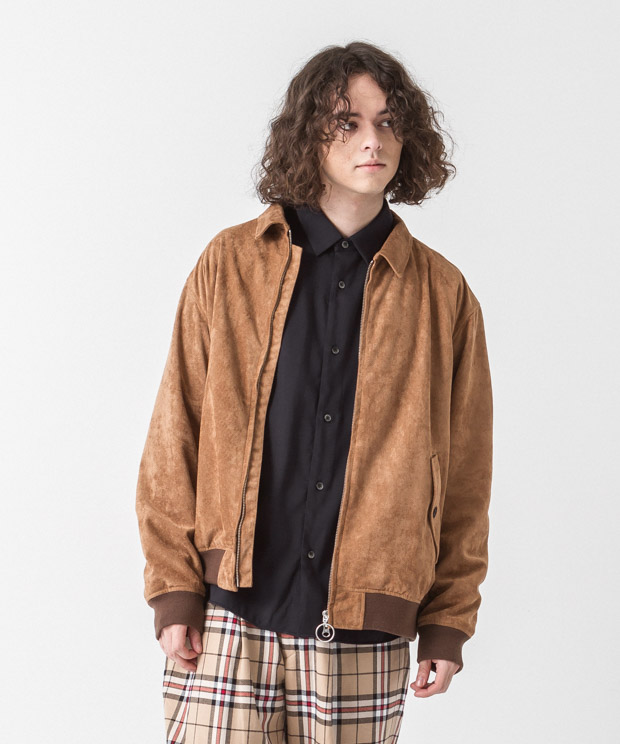 Faux Suede Drizzler Jacket - BROWN