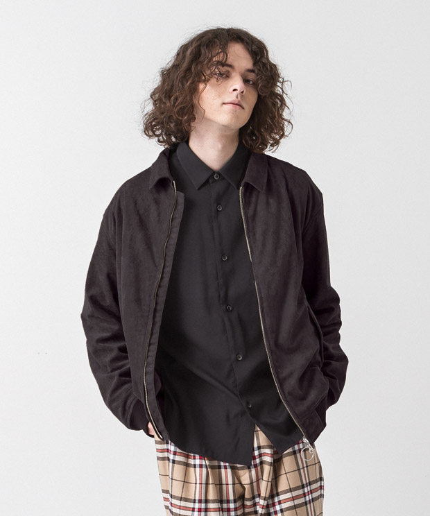 Faux Suede Drizzler Jacket - BLACK