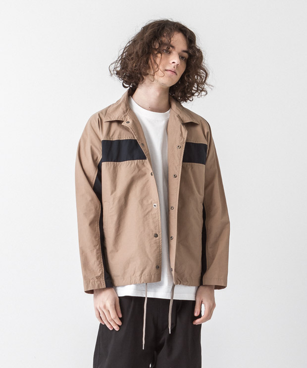 C/N Tussah Panel Coach Jacket - BEIGE