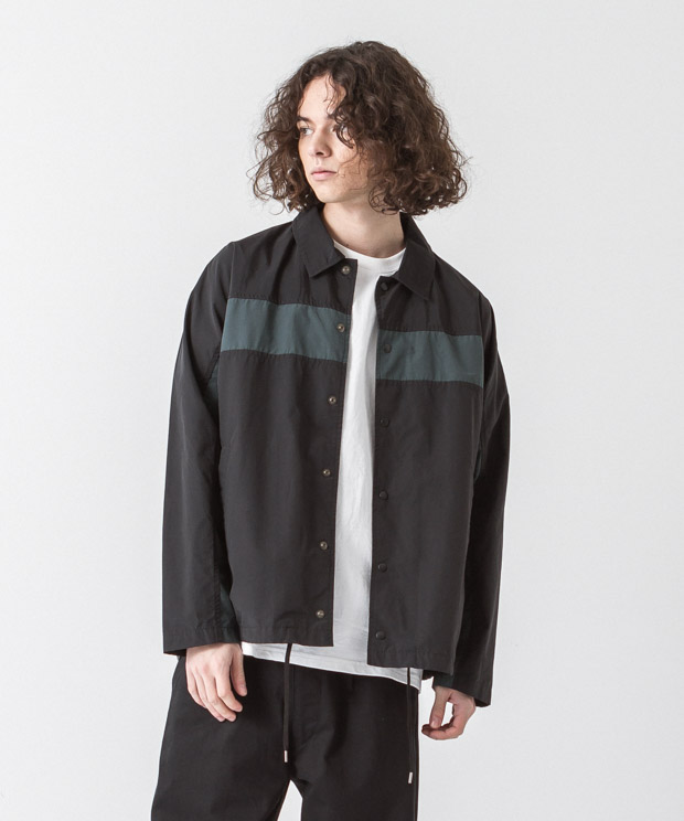 C/N Tussah Panel Coach Jacket - BLACK