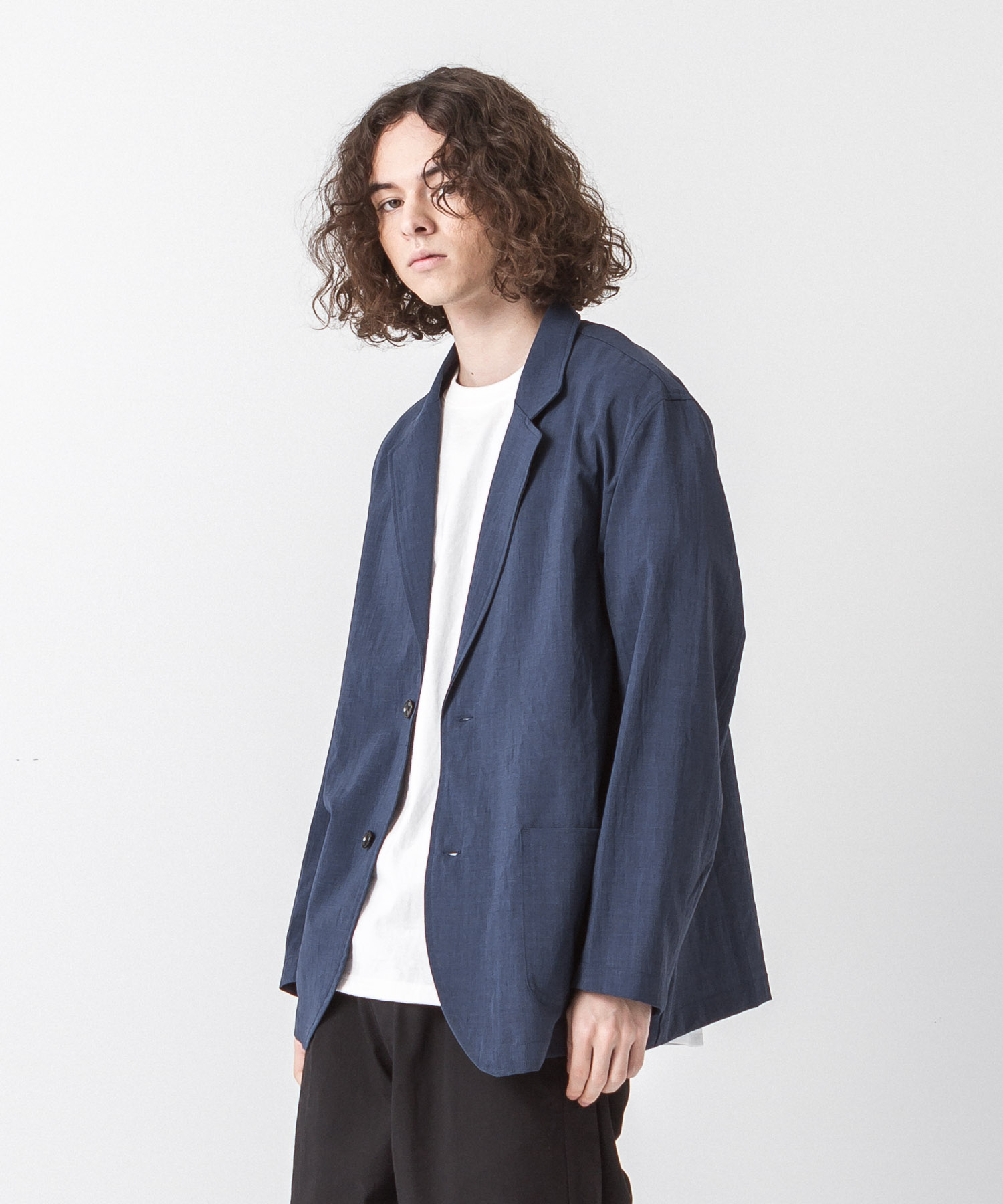 EVALET Thick&Thin Tailored Jacket - NAVY