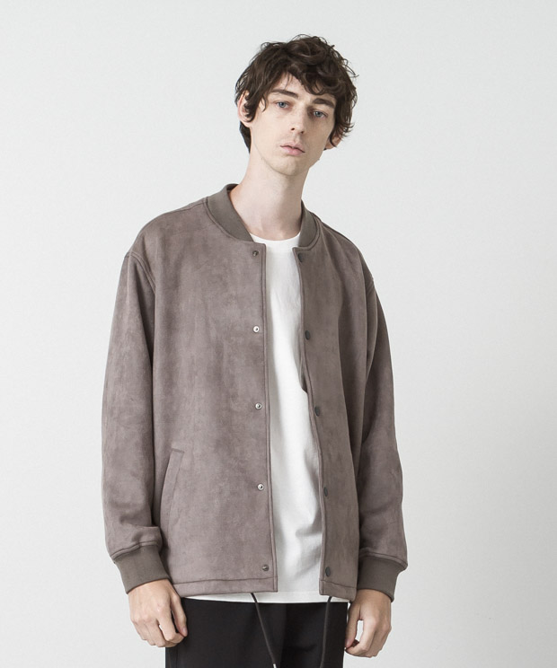Stretch Faux Suede Coach Jacket - GRAY