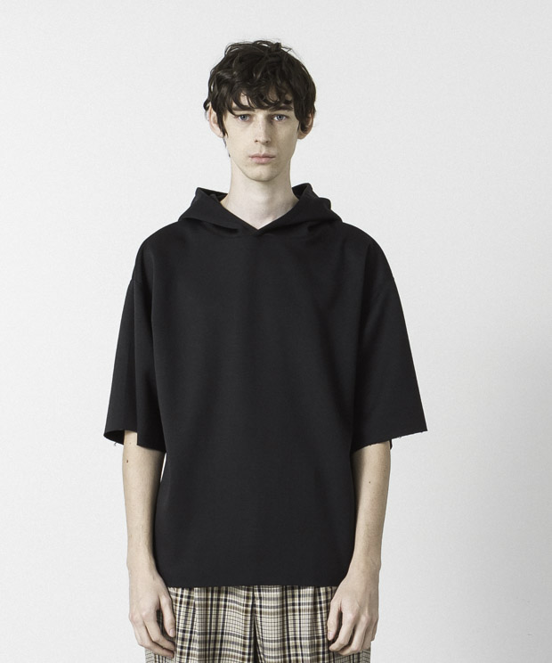 Double-Knit Oversized Hoodie - BLACK