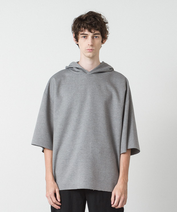 Double-Knit Oversized Hoodie - GRAY