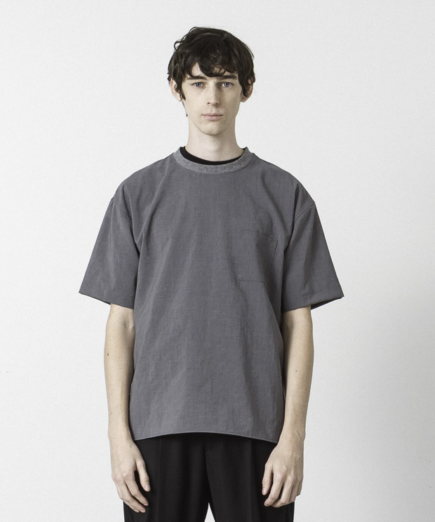 Evalet Thick&Thin Stretch T-Shirt - GRAY