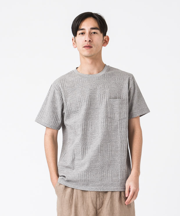Check Links Crewneck T-Shirt - GRAY