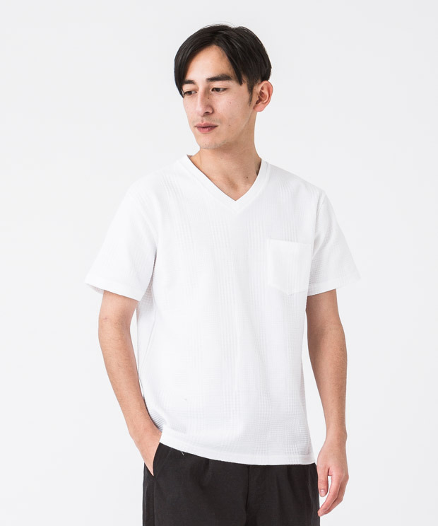 Glencheck Links V-Neck T-Shirt - WHITE