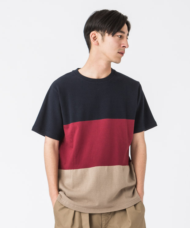 Panel Border T-Shirt - NAVY/RED/MOCHA