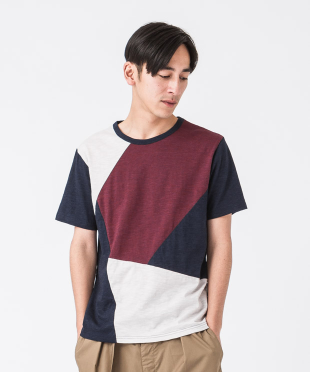 Marble Vintage Patchwork T-Shirt - NAVY