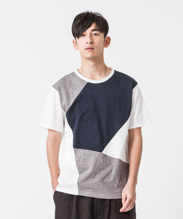 Marble Vintage Patchwork T-Shirt - WHITE