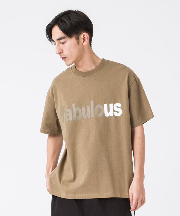 Side Zip Wide Printed T-Shirt(Faburous) - CAMEL