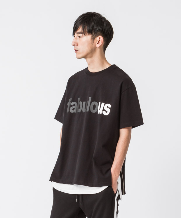 Side Zip Wide Printed T-Shirt(Faburous) - BLACK